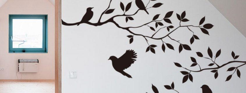 arbre avec oiseaux stickers muraux DIY